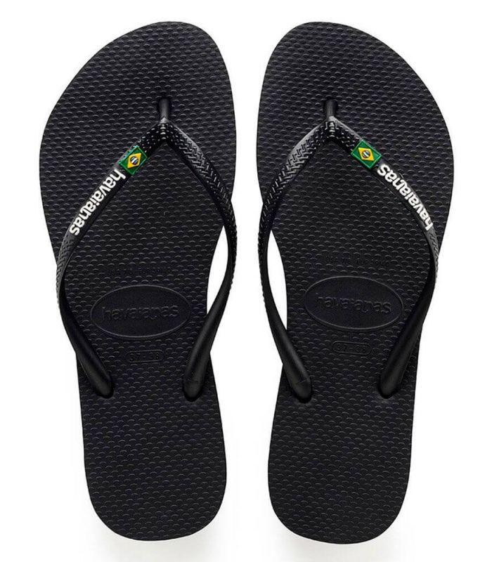 Havaianas Slim Brazil Logo Black - Shop Sandals / Flip Flops