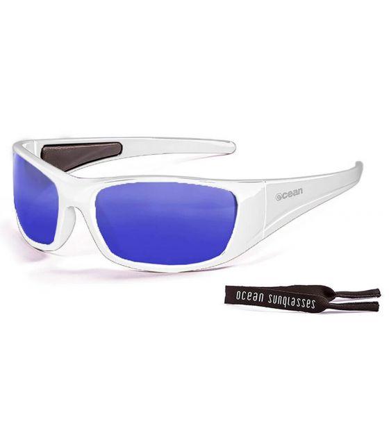Ocean Bermuda Shiny White / Revo Blue Ocean Sunglasses Gafas de sol Running Running Color: blanco