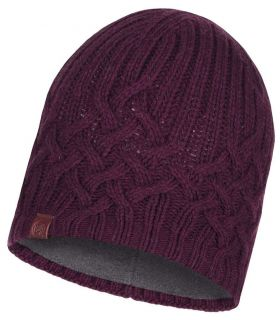 c056114d684  p  strong Buff Cap Buff Helle Garnet  strong  hat tricot and fleece for  women. Beanie hat casual knitted jumper with inner layer of polar fleece.  Winter ...