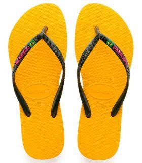 Havaianas Slim Brasil Logo Amarillo - Tienda Sandalias / Chancletas Mujer - Havaianas