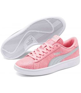 Puma Smash v2 Glitz Glam Pink Puma Casual Footwear Lifestyle Junior Sizes: 36, 37, 38, 39; Color: pink