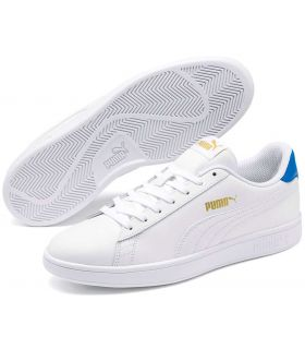 Puma Smash v2 Leather White Blue Puma Shoes Casual Man Lifestyle Sizes: 40,5, 41, 42, 42,5, 43, 44, 44,5, 45